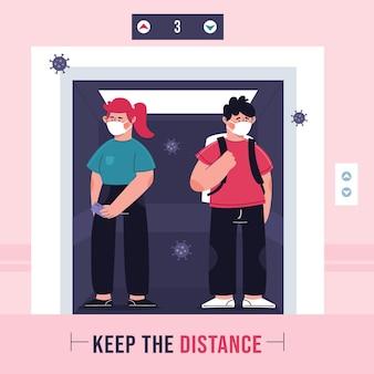 Ilustração de distanciamento social em um elevador