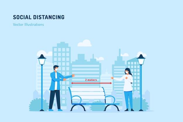 Ilustração de distanciamento social