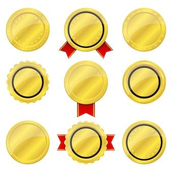 Ilustração de distintivo dourado sobre fundo branco