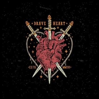 Ilustração de distintivo vintage de coração e espada