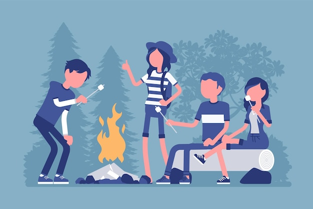 Ilustração de diversão ao ar livre para fogueira