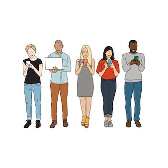 Ilustração de diversas pessoas usando dispositivos digitais