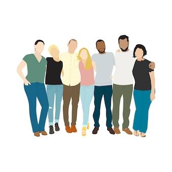 Ilustração, de, diverso, pessoas, braços, ao redor, um ao outro