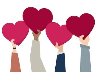 Ilustração, de, diverso, pessoas, segurando, corações