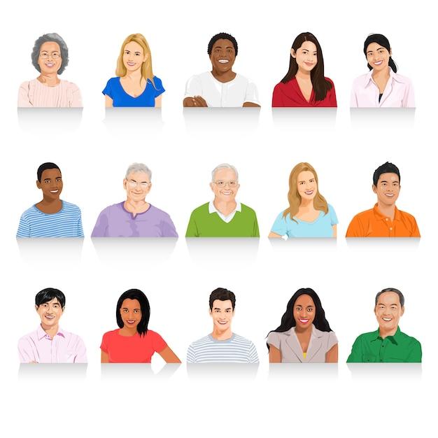 Ilustração, de, diverso, pessoas