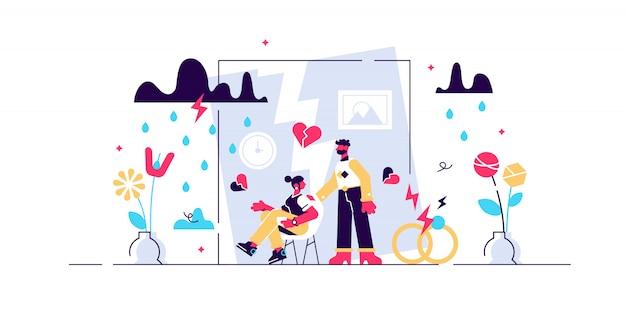 Ilustração de divórcio. conceito de pessoas de separação minúscula relação plana. separação do casamento com marido e mulher, sentindo crise, problemas e conflito. decisão da família adulta de se separar.