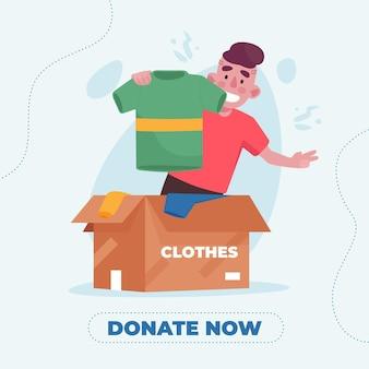 Ilustração de doação de roupas desenhada à mão plana com pessoas