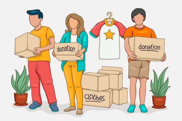 Ilustração de doação de roupas
