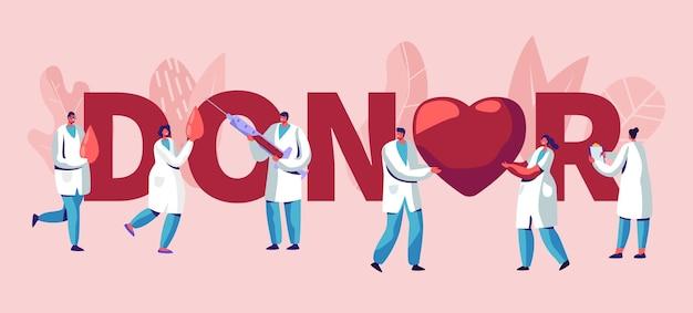 Ilustração de doadores com médicos