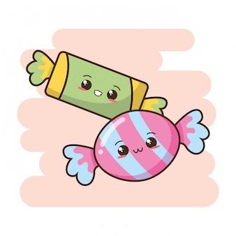 Ilustração de doces fofos kawaii fast-food