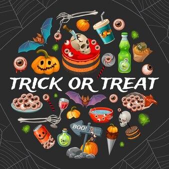 Ilustração de doces ou travessuras de halloween.