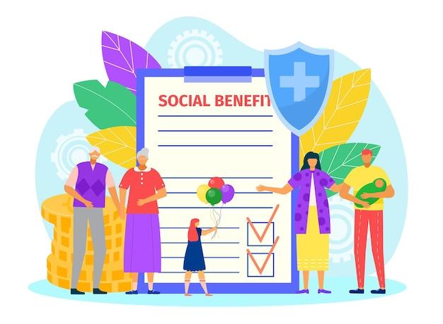 Ilustração de documento de benefício social