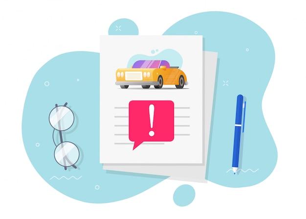Ilustração de documento de informação de instruções de automóvel