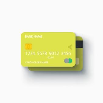 Ilustração de dois cartões de crédito verdes frente e verso em branco com sombra realista