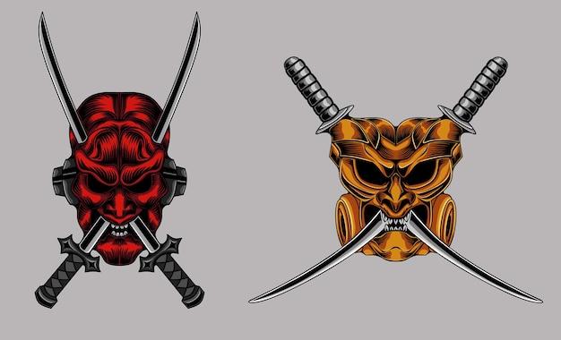 Ilustração de dois crânios de samurai gráfico