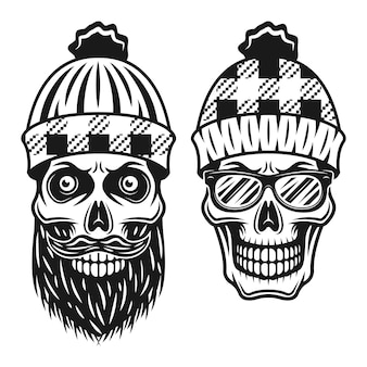 Ilustração de dois estilos de crânios de lenhador em estilo monocromático