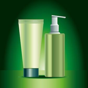 Ilustração de dois frascos de cuidados com a pele verdes e ícones de produtos em tubo