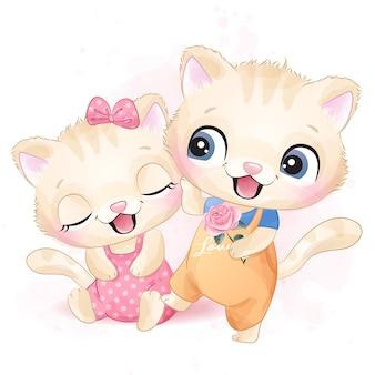 Ilustração de dois gatinho fofo