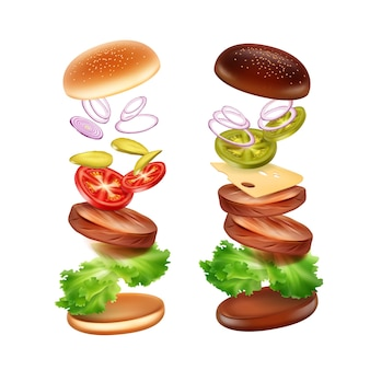 Ilustração de dois hambúrgueres com pão clássico e preto e ingredientes voando