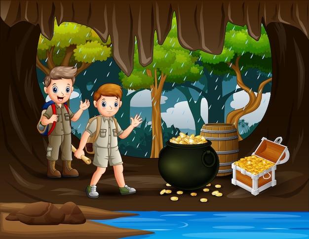 Ilustração de dois meninos escoteiros na caverna do tesouro