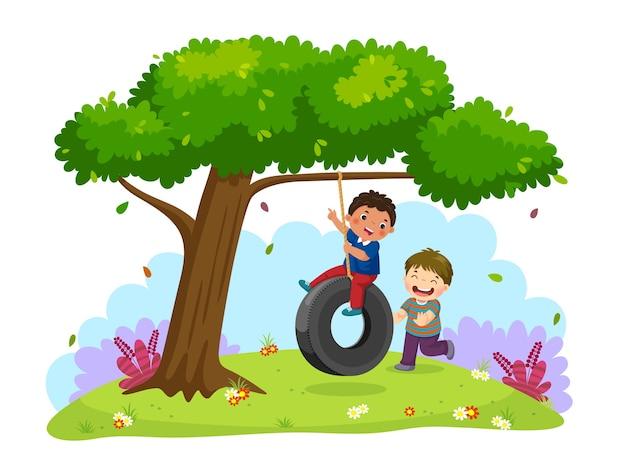 Ilustração de dois meninos felizes brincando de balanço de pneu debaixo da árvore