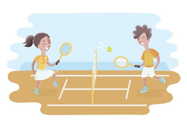 Ilustração de dois meninos jogando tênis dentro da cerca