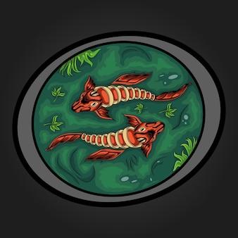 Ilustração de dois peixes koi em água verde