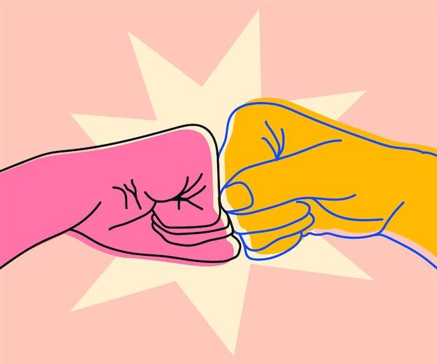 Ilustração de dois punhos batendo em equipe, parceria, amizade, amigos, espírito, mãos, gesto