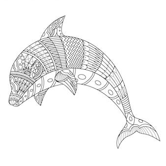 Ilustração de dolphin mandala zentangle em estilo linear