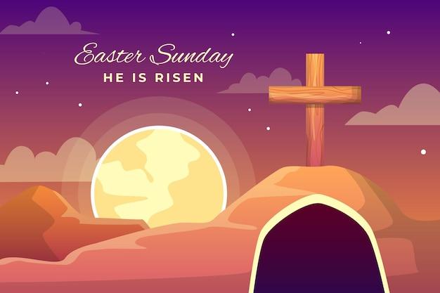 Ilustração de domingo de páscoa com cruzes