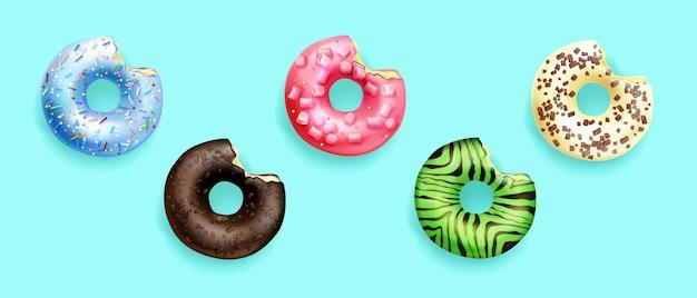 Ilustração de donuts em vista superior