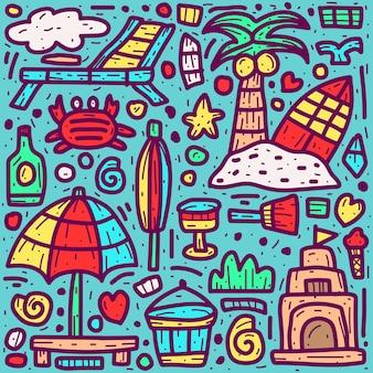 Ilustração de doodle abstrato de desenho animado de praia