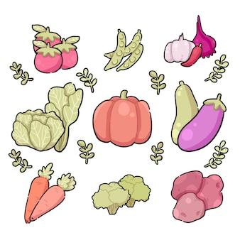 Ilustração de doodle bonito de compilação de legumes