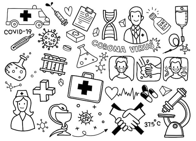 Ilustração de doodle bonito para vírus covid-19, corona