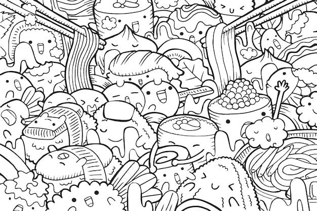 Ilustração de doodle comida japonesa em estilo cartoon
