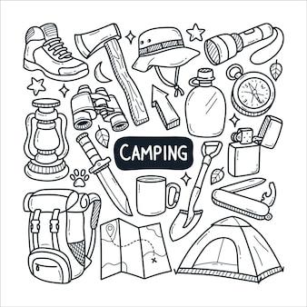 Ilustração de doodle de acampamento