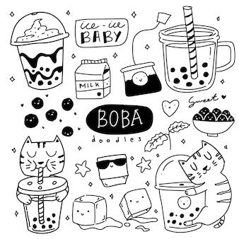 Ilustração de doodle de bebida de chá de leite e açúcar mascavo fofo