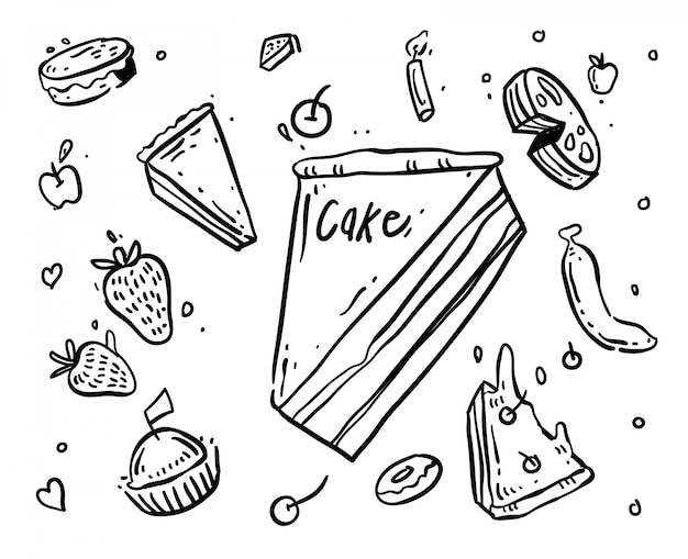Ilustração de doodle de bolo