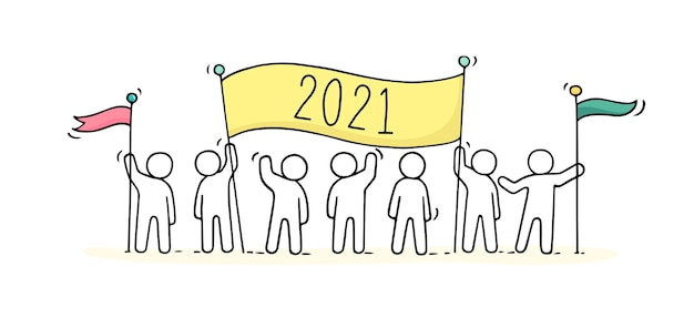 Ilustração de doodle de desenho animado com pequenas pessoas se preparando para a celebração