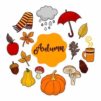 Ilustração de doodle de elemento outono
