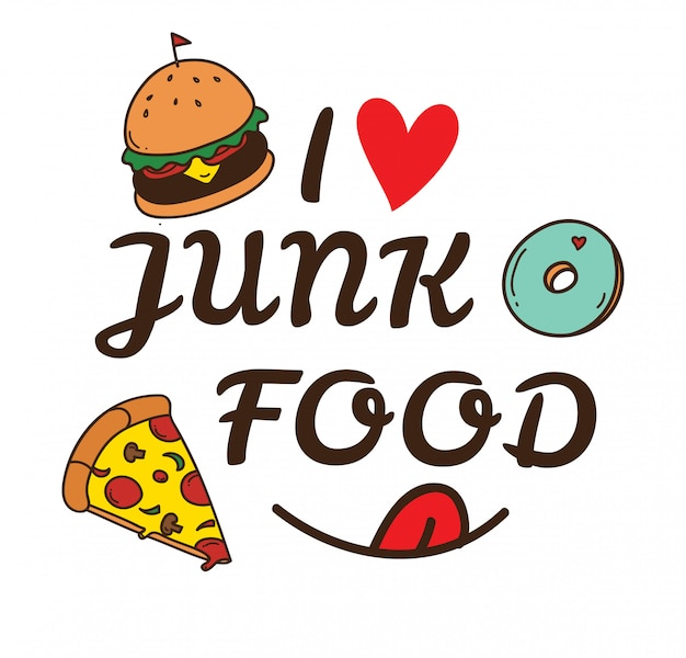 Ilustração de doodle de junk food