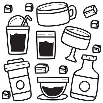 Ilustração de doodle de linha de bebida