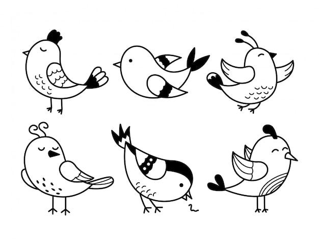 Ilustração de doodle de linha preta de pássaro