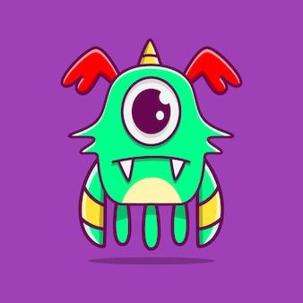 Ilustração de doodle de personagem monstro fofo