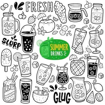 Ilustração de doodle em preto e branco de bebida de verão