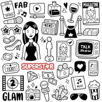 Ilustração de doodle em preto e branco de celebridade