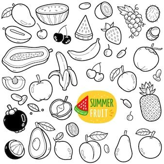 Ilustração de doodle em preto e branco de frutas de verão