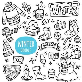 Ilustração de doodle em preto e branco de objetos de inverno