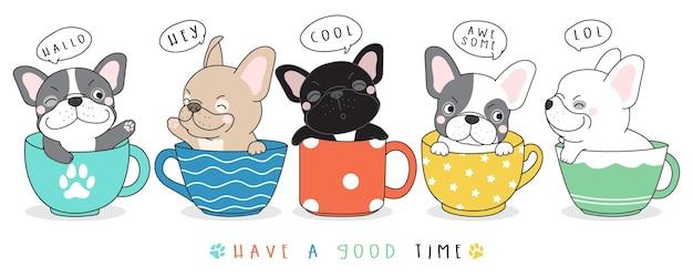Ilustração de doodle fofo de bulldog francês