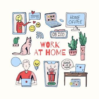 Ilustração de doodle fofo do interior do escritório em casa